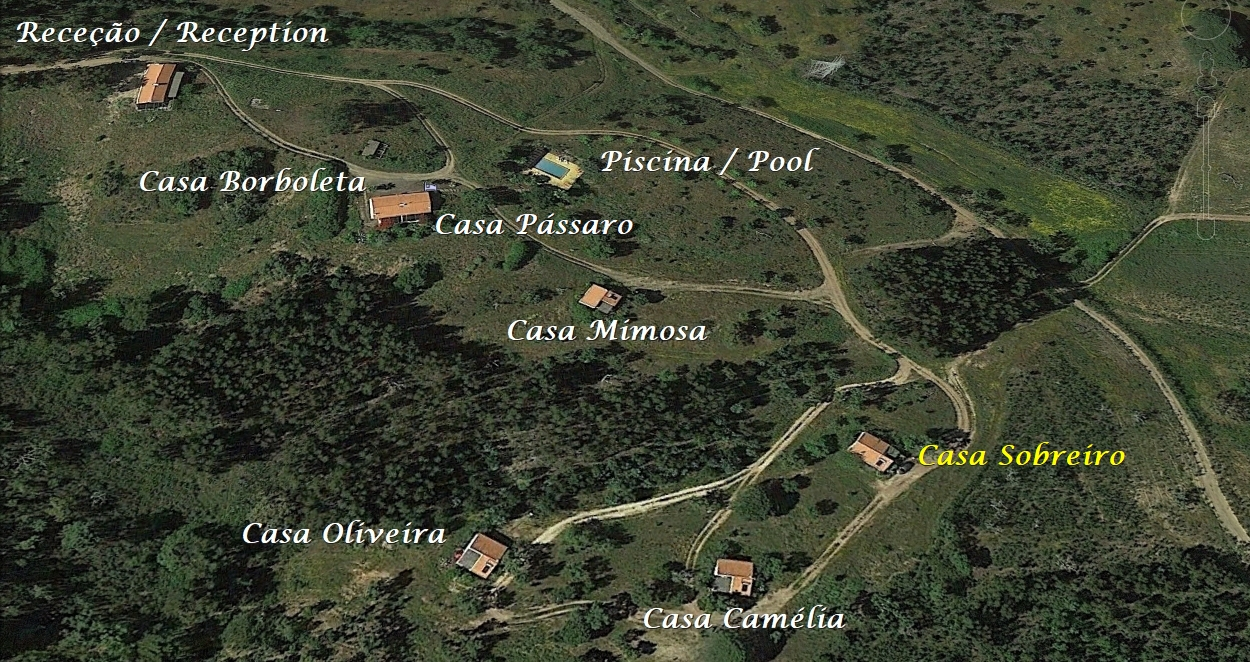 Overzichtskaart Monte Horizonte Landelijk Toerisme in de Alentejo regio van Portugal